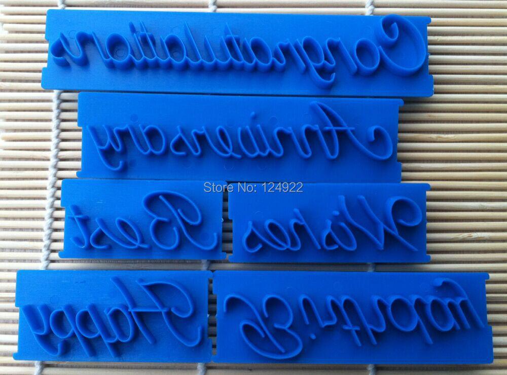 6 Pcs/Set Beautiful Handwriting Letter Printing Mold Cake Fondant Cream Decorating Cutter Mold Tools(China (Mainland))