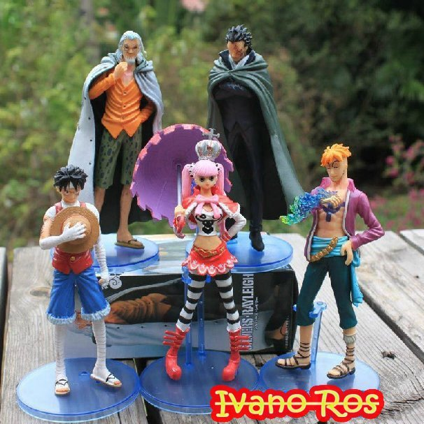 "Free shipping  Anime One Piece 3D  2 Year 6"" PERONA LUFFY PVC Figure toy in box   (5 pcs/set  )"