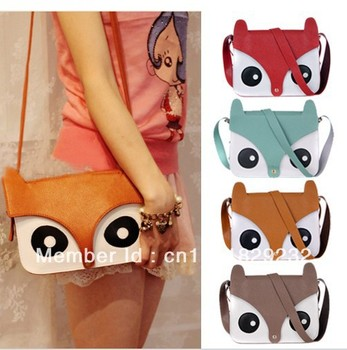 2013 Womens Ladies Retro Shoulder Bag Messenger bags Cute School Tote Owl Fox PU Purse
