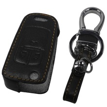Leather Remote Control Car Keychain key cover bag case Chevrolet Cruze OPEL VAUXHALL MOKKA BUICK ENCORE ,3 Buttons fold key