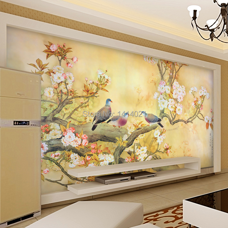 Sitting room kids 39 room tv setting wall bedroom wallpaper for Bird mural wallpaper