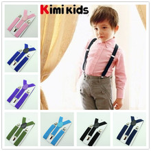 Retail 2.5cm high quality elastic boys and girl 2014 new Clip-on Braces for kids Wide Suspenders clips children accessories