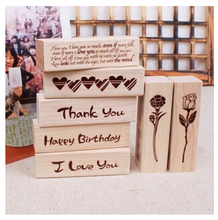 DIY Cute Kawaii Cat House Stamp Wood I Love You Thank You Rose Stationery for Decoration Scrapbooking  Free shipping 10007(China (Mainland))