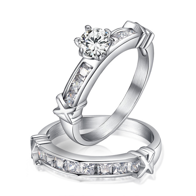 Stainless Steel Diamond Engagement Rings cz Diamond Engagement Ring