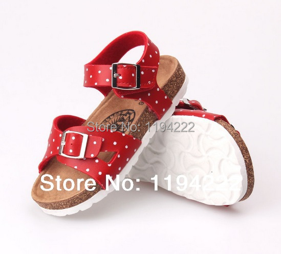 Kids Sandals Summer slippers cork sole kids outdoor shoes ankle-strap footbeds printed polkas - Summer's Leisure Shop store