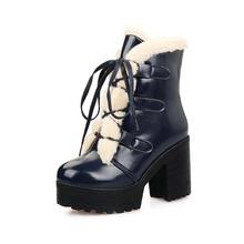 Raquetas de nieve caliente zapatos nueva corteza gruesa punta redonda con cordones botas talón del tobillo cuadrados para mujeres Martin botas negro azul rojo(China (Mainland))