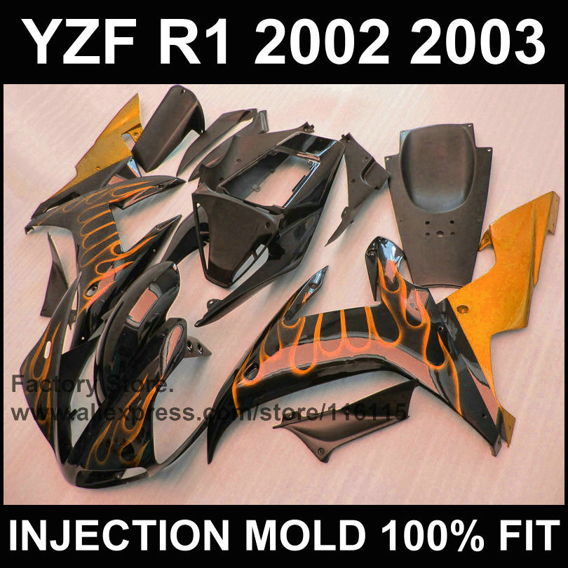 7gifts Motorcycle injection mold fairings kit for YAMAHA 2002 YZF R1 2003 YZFR1 02 03 YZF-R1 orange flame in black fairing parts