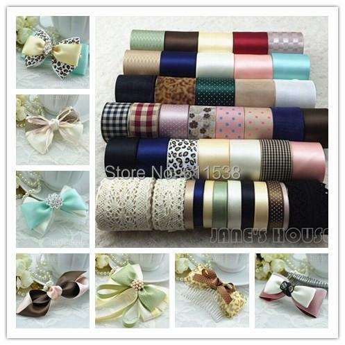 26Yards Mixed ribbon set,Grosgrain/Satin Ribbon,Stripe ribbon ,Printed ribbon,Children Garment Accessories