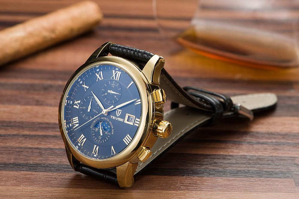 Tevise Люксовый бренд мужская механическая автоматическая наручные часы водонепроницаемые стали Moon phase календарь Световой horloge mannen