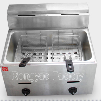 12L 1 tank 2 basket stainless steel fryer Gas pressure fryer Counter Top Gas Deep Fryer lifting equipment to buy RY-GF-73(Hong Kong)