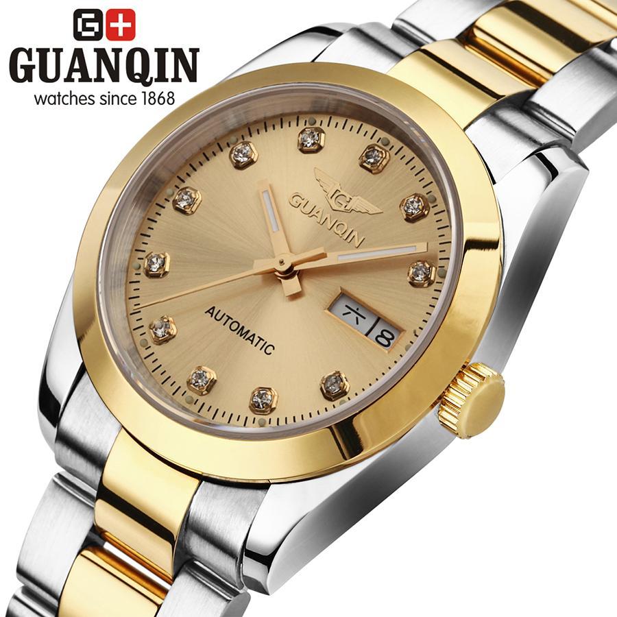 GUANQIN GQ70005 Gold men table lovers watch luxury automatic mechanical watch business waterproof watch relogio masculino<br><br>Aliexpress