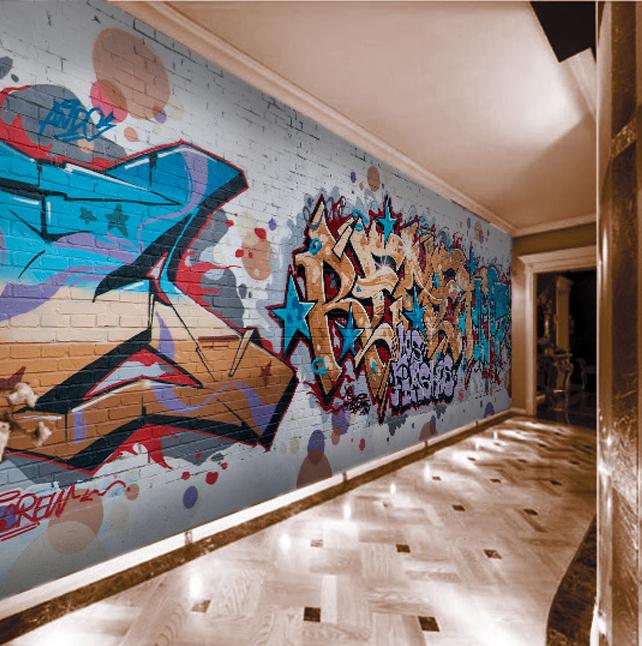 Large mural bar corridor background wall features Cafe street art graffiti 3D personality wallpaper wallpaper(China (Mainland))