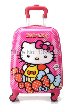 2014 Kids Trolley Bag Boy & Girl Frozen Bags Abs Pc School Travel Wheel Hello Kitty 5A - Small Cannon Playground store