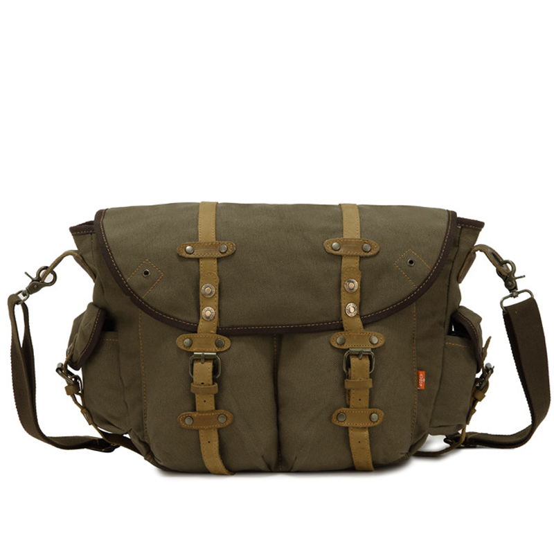 17L Outdoor Canvas with Genuine Leather Men Messenger Bags Army Green Brown Travel Climb Crazy Horse Satchels Men's Shoulder Bag(China (Mainland))