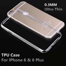 0.3 мм ультратонкий мягкие TPU чехол для iPhone 6 6 s 4.7 дюймов телефон для iPhone 6 плюс 5.5 дюймов чехол