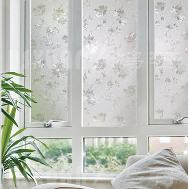 40*100cm Hsxuan brand PVC etched Opaque Privacy 3D print Glass Window Film bathroom Hibiscus flowers glass-door-stickers 400208(China (Mainland))
