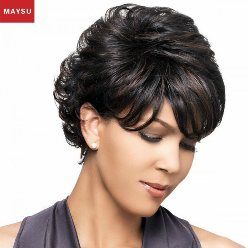 MAYSU Mixed Short Human Hair Wig For Black Women Fluffy Layered Style Anti-microbial Net Cap customized 10 Colors Free Shipping<br><br>Aliexpress