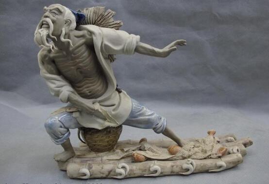 fast shipping USPS to USA S46 China Clay Pottery WuCai porcelain Lucky Fisherman Fishing Fish Scoop net Statue(China (Mainland))