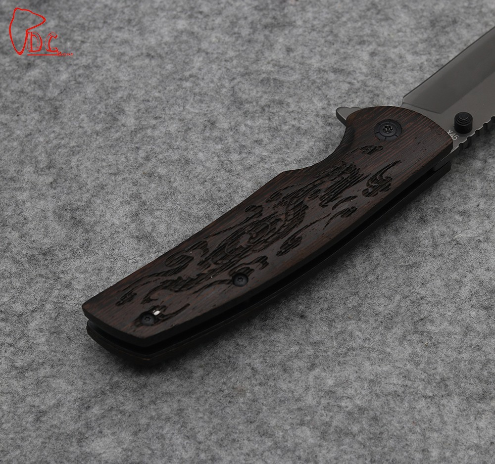 Buy Dcbear Tactical Survival Folding Knife 440C Steel Blade Wood + Steel Handle Camping Equipment Outdoor Tops Knife cheap