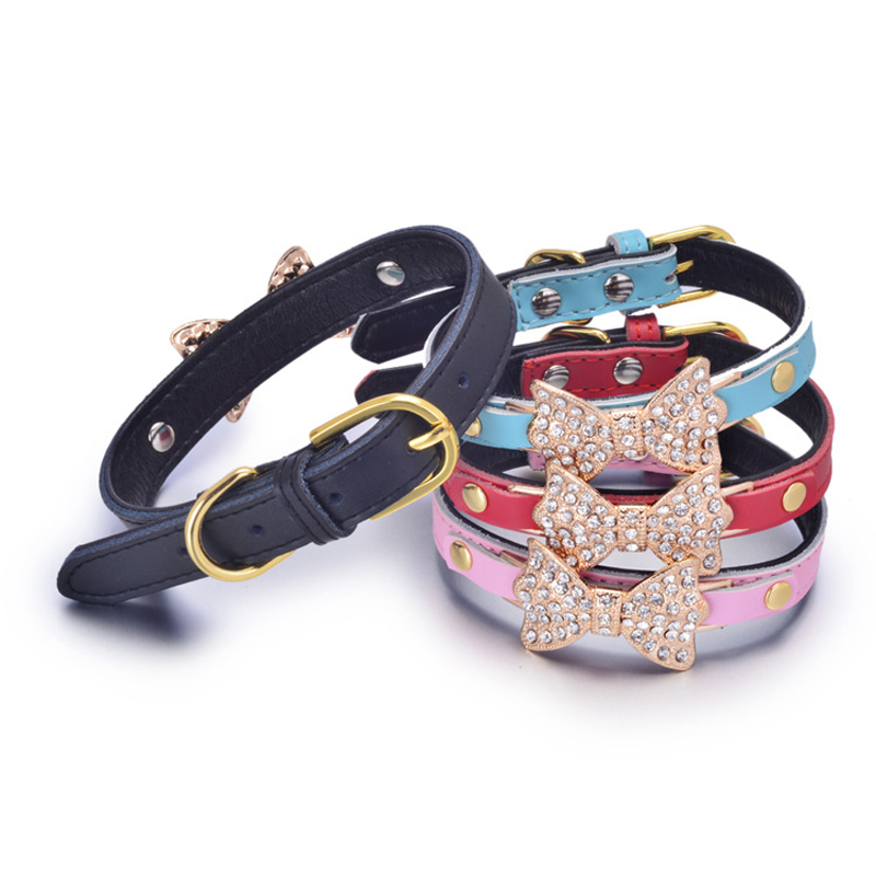 Dog Products Solid Durable Genuine Leather with Bling Rhinestone Bowknot Cute Collars for Small and Medium Dogs Size XS S M(China (Mainland))