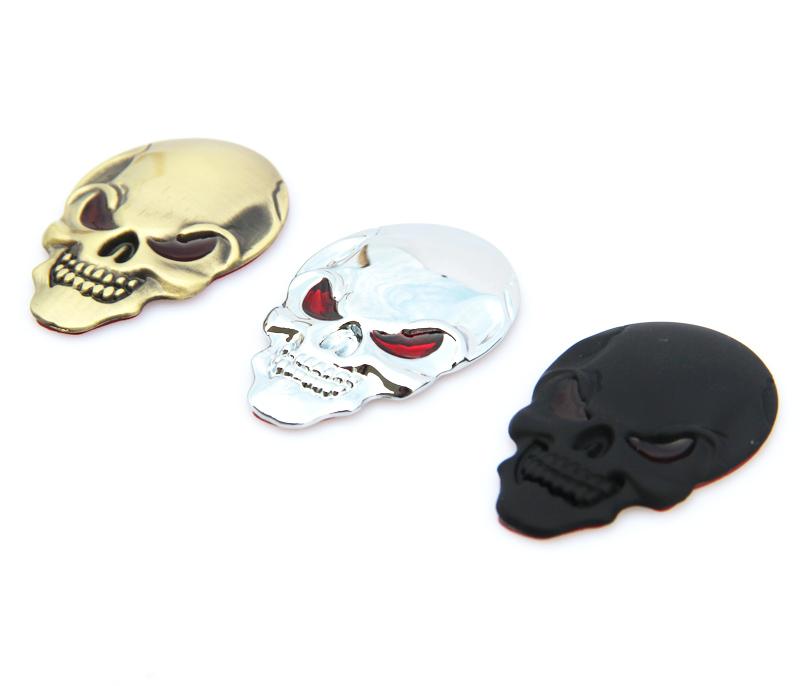 1 Pcs New 3D Metal Skull Logo Emblem Sticker Car SUV Body Exterior Cover Fender Decals DIY Car-styling 3D Stickers