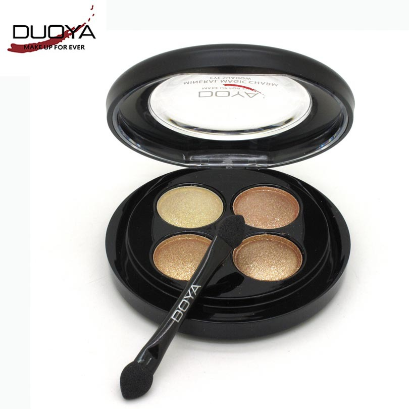 DUOYA Brand New Makeup Set 4 Color Gilliter Eyeshadow Palette Make Up Pigment Eye Shadow with Brush Cosmetics Kit for Party 90D(China (Mainland))