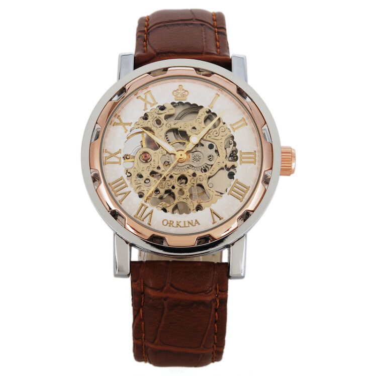 2016 New Time limited Hardlex Orkina Skeleton Mechanical Watches Surface Hollow Leather Strap Analog Fashion Man