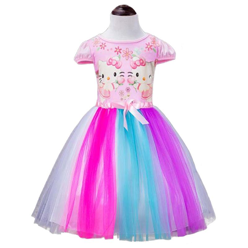 Summer Girls Dress Hello Kitty Kids Dresses for Girls Rainbow Mesh Short Sleeve Princess Dress Cute Minnie Mickey Bow Ball Gown(China (Mainland))