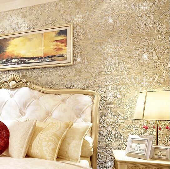 3D luxury European style Damascus diamond embossed non-woven wallpaper bedroom sofa TV background wallpaper R433