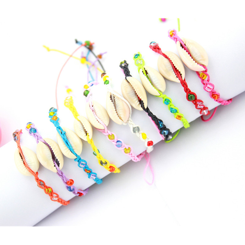 Colorful Sea Shells Conch and Arylic Beads Hemp Friendship Bracelet Handmade Woven Hippie Bracelets for best friends(China (Mainland))