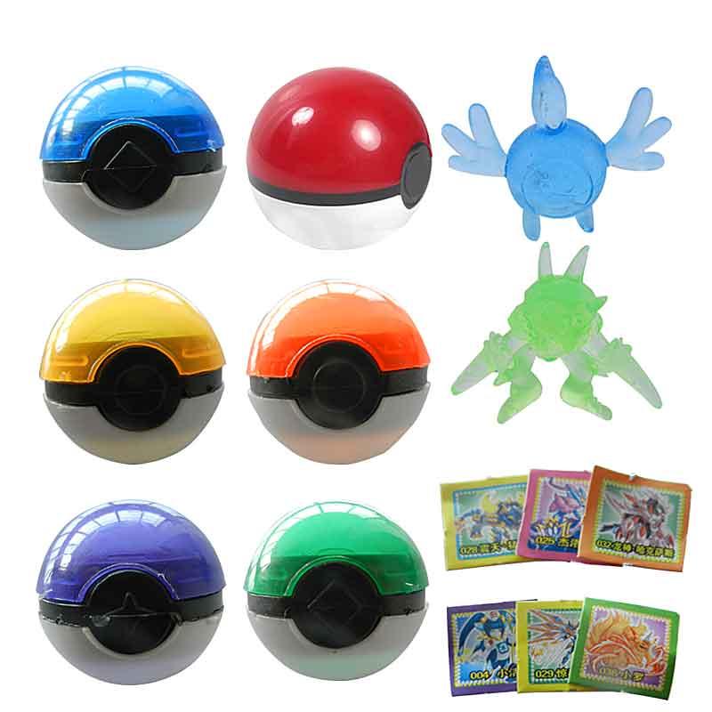 3 pcs a pack Pokemon Balls+pokemon models picachu ABS Anime Action Figures Pokemon PokeBall Toys Super Master Pokemon Ball Toys(China (Mainland))