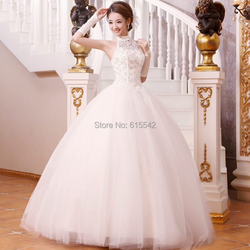 Unique high collar ball gown bridal dresses lace beads for Wedding dress with high collar