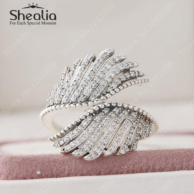 Кольца 2015 осень ааа цирконий микро-проложить величественный перья для женщин стерлингового серебра 925 мода свадебные украшения RIP139