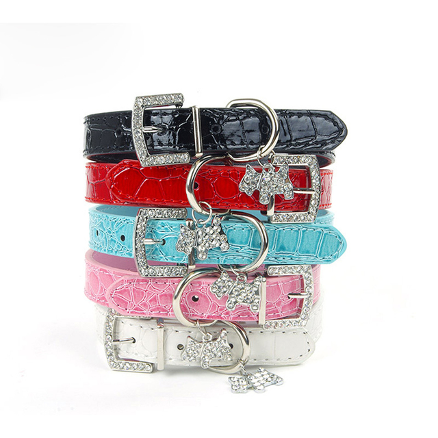 PU Leather Rhinestone Dog Collar With 5 Colors