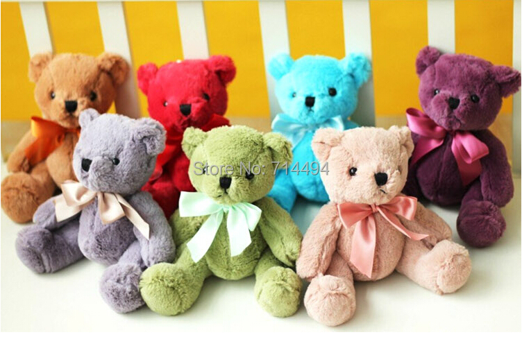 Wholesale 20CM 7pcs/lot Super cute colorful bear plush toy teddy bear wedding gift creative gift best gift for girls(China (Mainland))