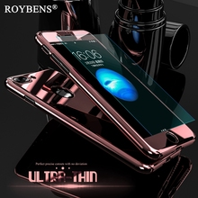 Buy Roybens Luxury Bling Metal Skin Plating Hard Front Back Case iPhone 6 6S Plus iPhone 7 Case 360 Full Cover + Temper Glass for $2.98 in AliExpress store