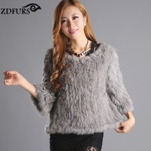 ZDFURS * real  rabbit fur knitted fur jacket coat fur o-neck pullover knitted fur coat outerwear ZDKR-165008(China (Mainland))