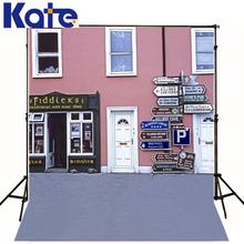 Theme Wedding Backdrop Pink Wall White Door Children Photo Background Indicator Way Photo Studio Backdrop