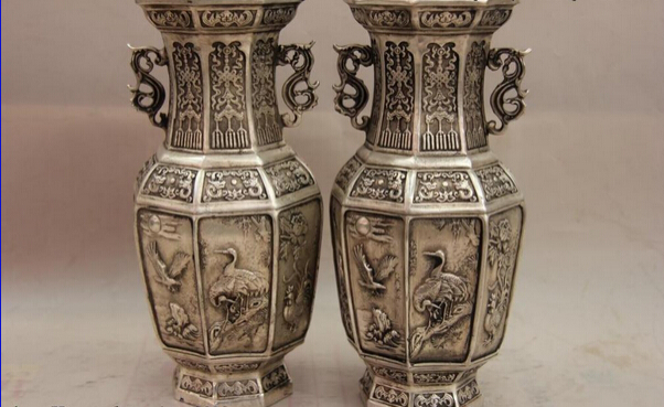 song voge gem S1219 China White Copper Silver Bird Bat Crane Fish <font><b>Rooster</b></font> Eagle Pot Vase Pair