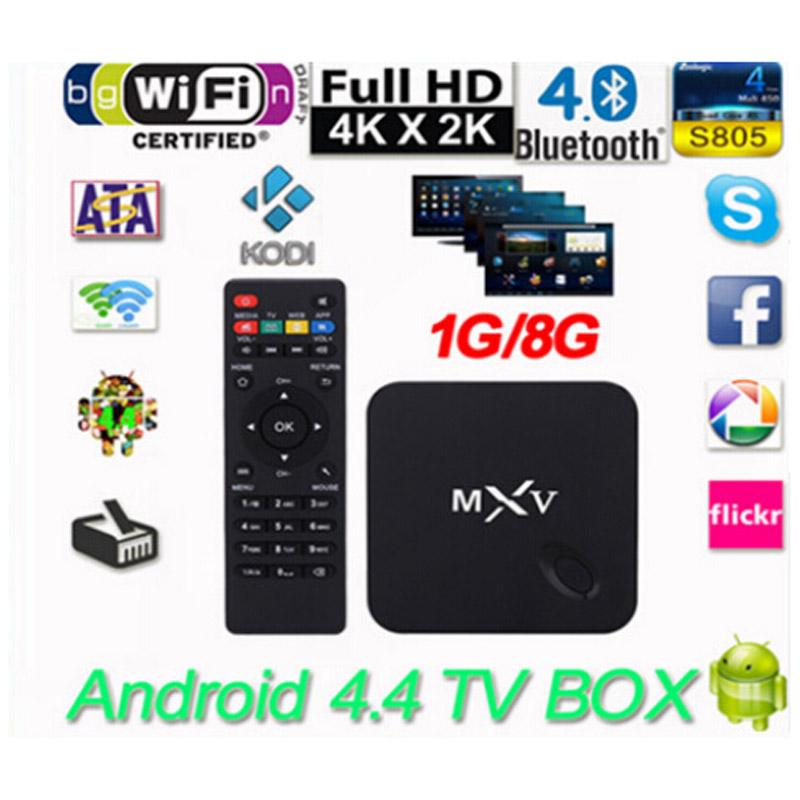 MXV Quad Core Android TV BOX S805 1GB/8GB Cortex 1.5 GHZ Android 4.4.2 KODI WIFI Bluetooth H.265 HEVC Media Player(China (Mainland))