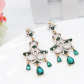 2016 Vintage Turkish Earring Women Jewelry Artificial Emerald Flower Antique Gold Plated Princess Long Water Drop