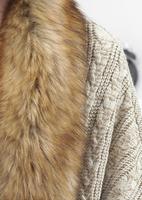 женщин мех воротник batwing рукава свободные вязать кардиган жакет пальто плащ свитер