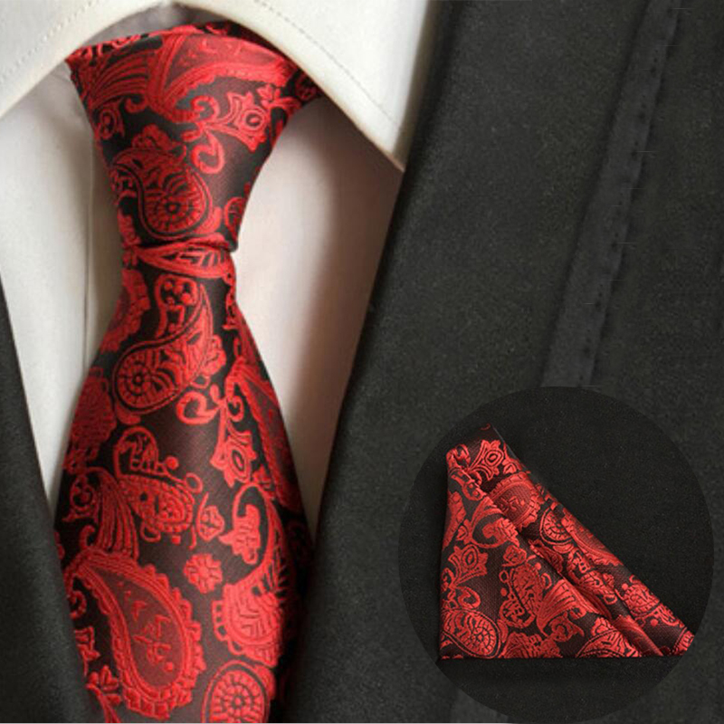 New 8cm Polyester Silk Necktie & Handkerchief Paisley Striped Set 25cm Pocket Square Chest Towel Sets Wedding Ties for Mens Suit(China (Mainland))