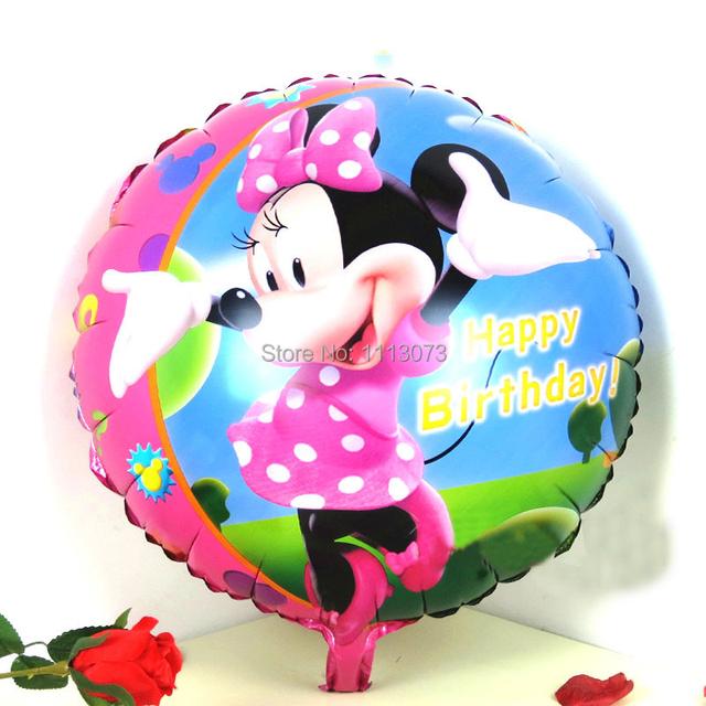3 шт./лот 45 * 45 см с днем рождения фольги минни воздушные шары девушки ну вечеринку поставки шары для минни ну вечеринку надувные баллоны globos
