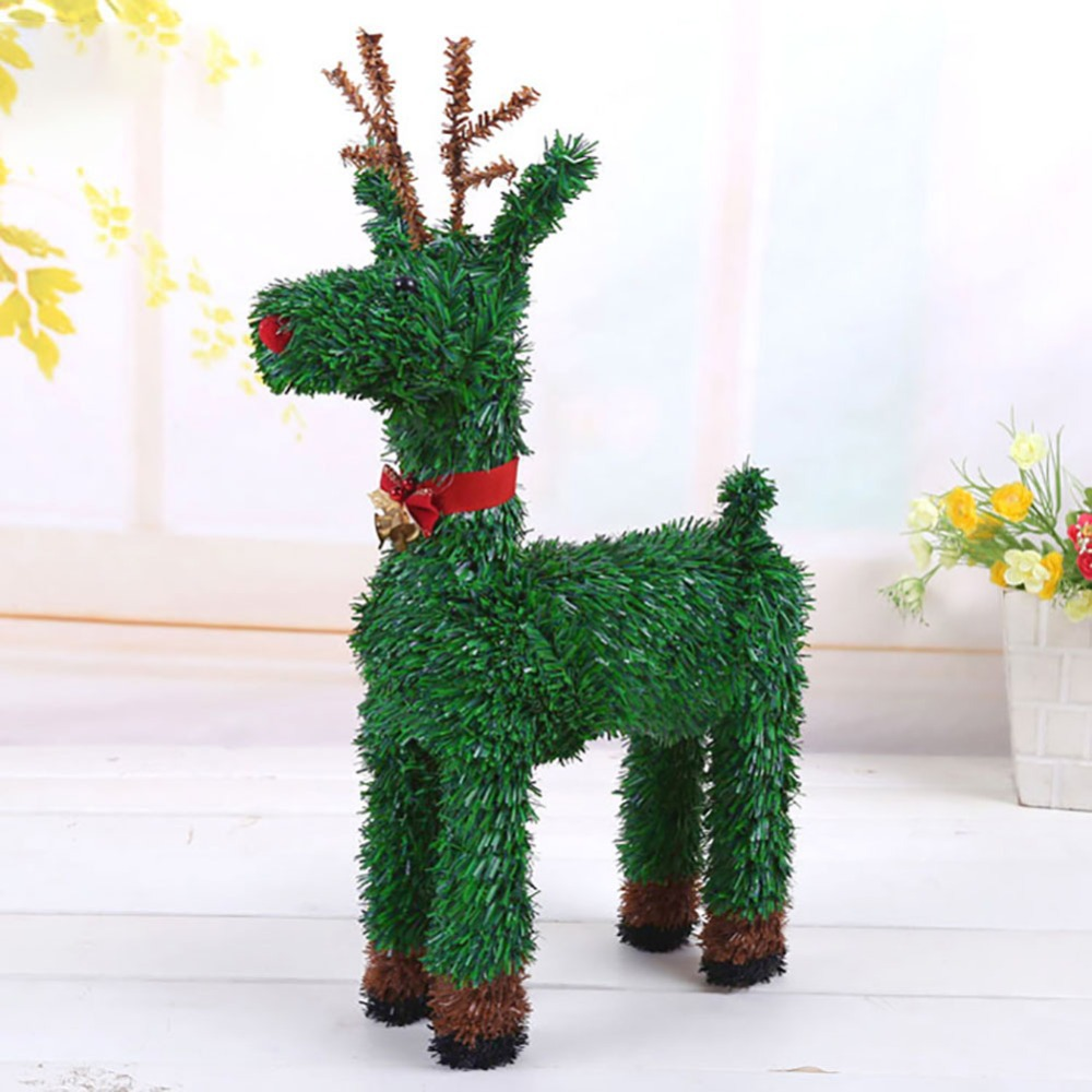 Small/Large Exquisite Artificial Green Weaving Elk Ornament Christmas Tree  Garden Yard Decoration(China