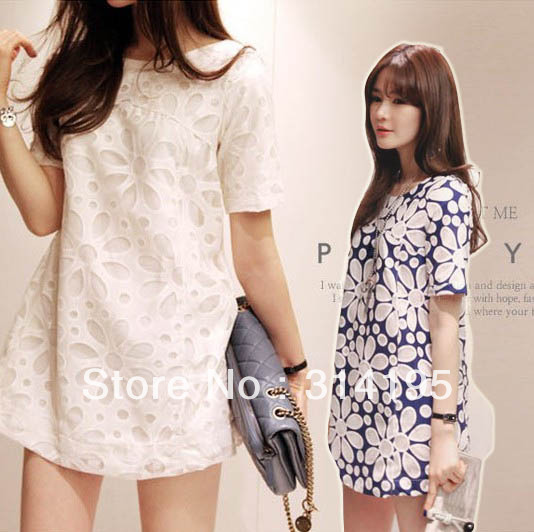 Free Shipping 2013New Arrival vintage Sweet Lace Flower Back Zipper Slim One-Piece Dress white and blue color size S,M,L hyp8090