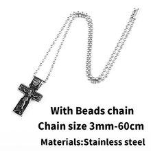 BEIER jezusem chrystusem wisiorek naszyjnik 316L ze stali nierdzewnej stal krzyżyk łańcuch ciężki mężczyzn biżuteria prezent religijny biżuteria chrześcijańska BP8-210(China)