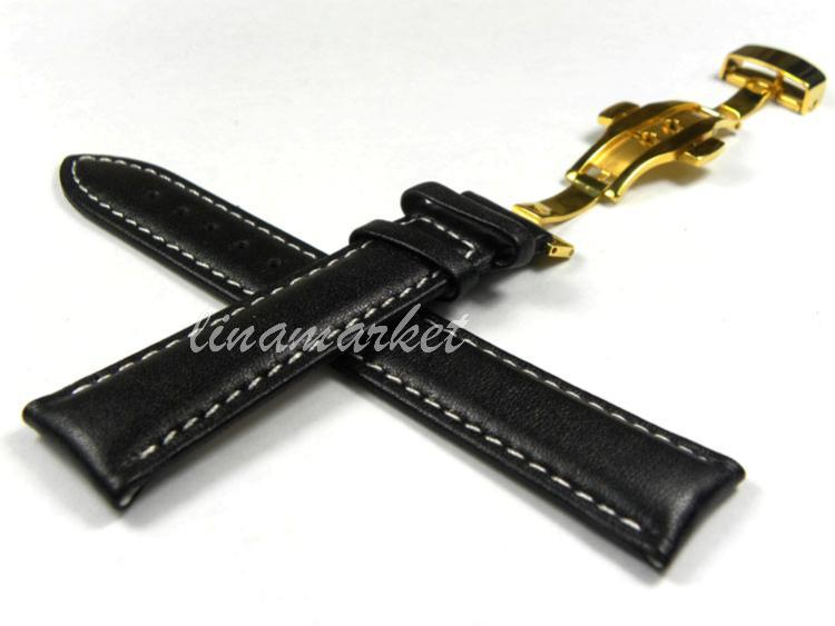 26mm (Buckle 22mm) Black + Double Push Butterfly Clasp Genuine Leather Watch Straps S52Ga<br><br>Aliexpress
