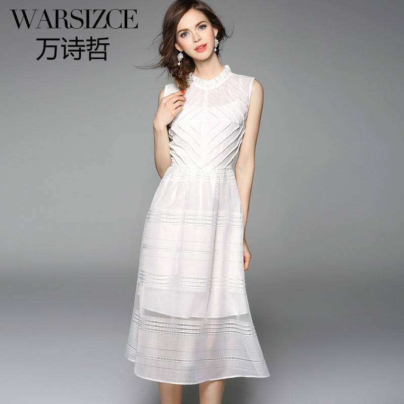 In the spring of 2016 new WARSIZCE/ million Shizhe pleated collar diamond line stripe mosaic sleeveless dress(China (Mainland))