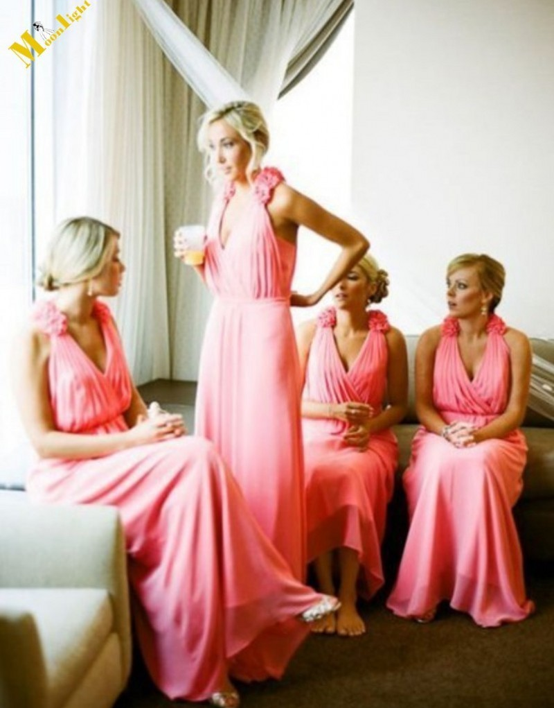 V neck coral colored long bridesmaid dresses 2015 a line for Coral bridesmaid dresses for beach wedding